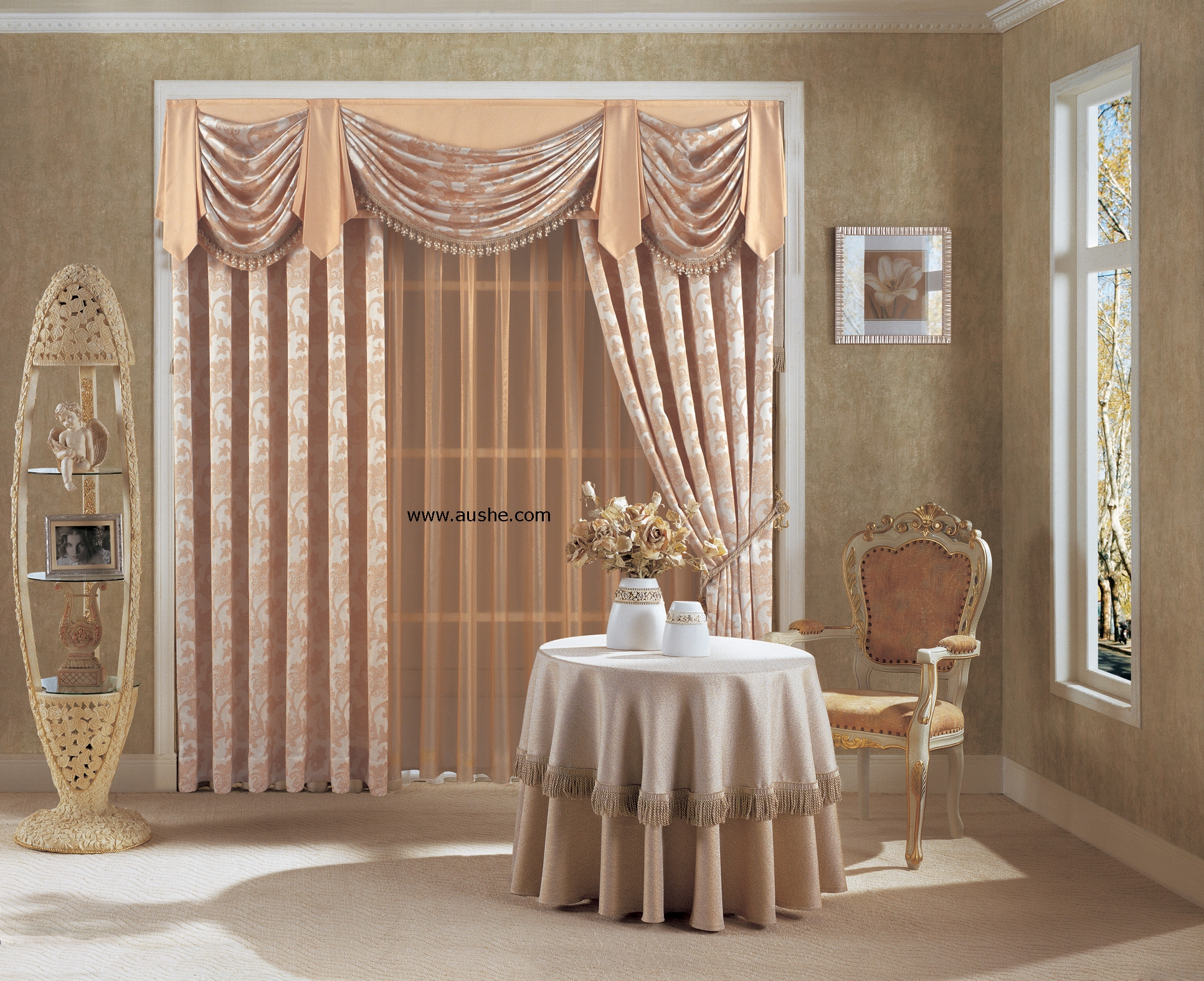 Modern Window Treatments Blue Drapery Panels On 3 Large Within Luxury Blinds And Curtains (Image 10 of 15)