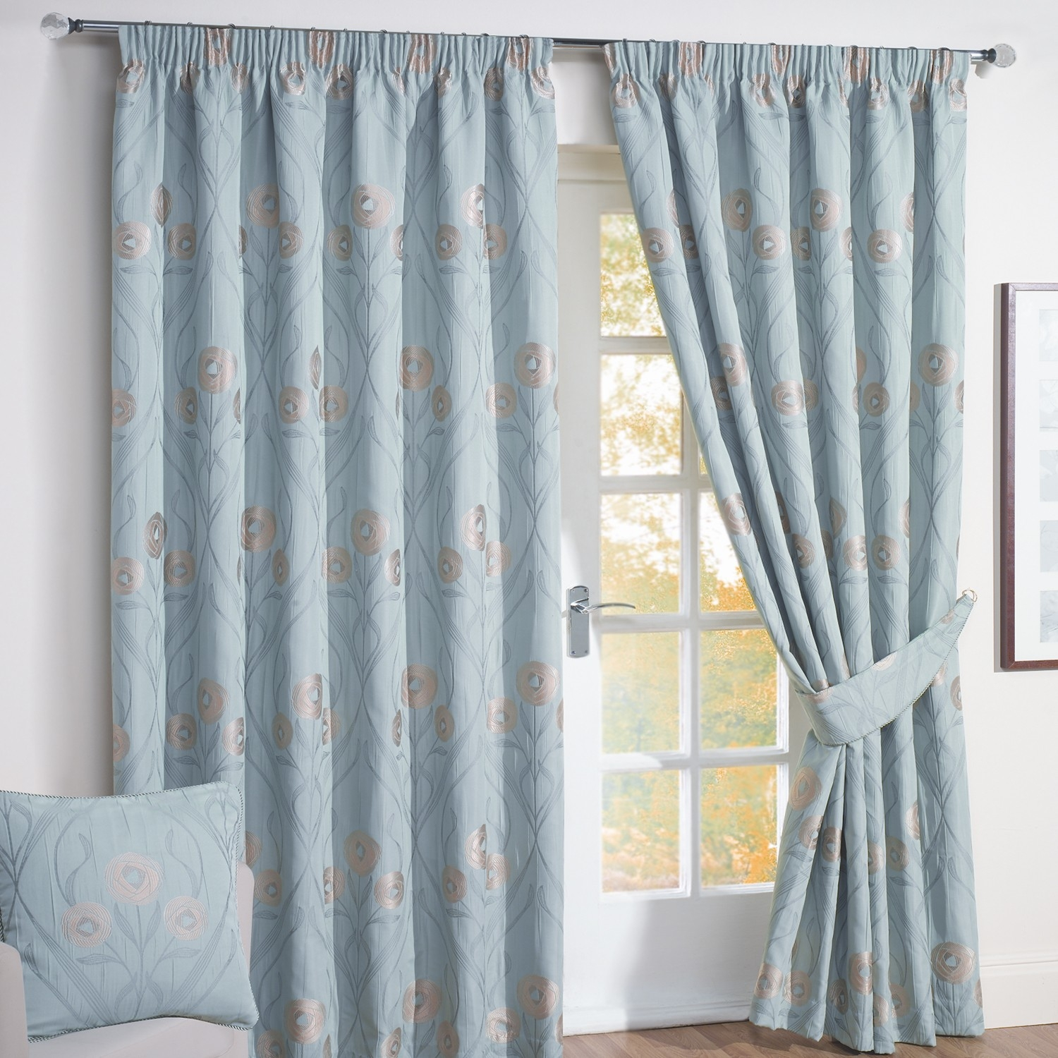 Montrose Duck Egg Blue Floral Jacquard Lined Curtains Pair Throughout Duck Egg Blue Blackout Curtains (View 11 of 15)