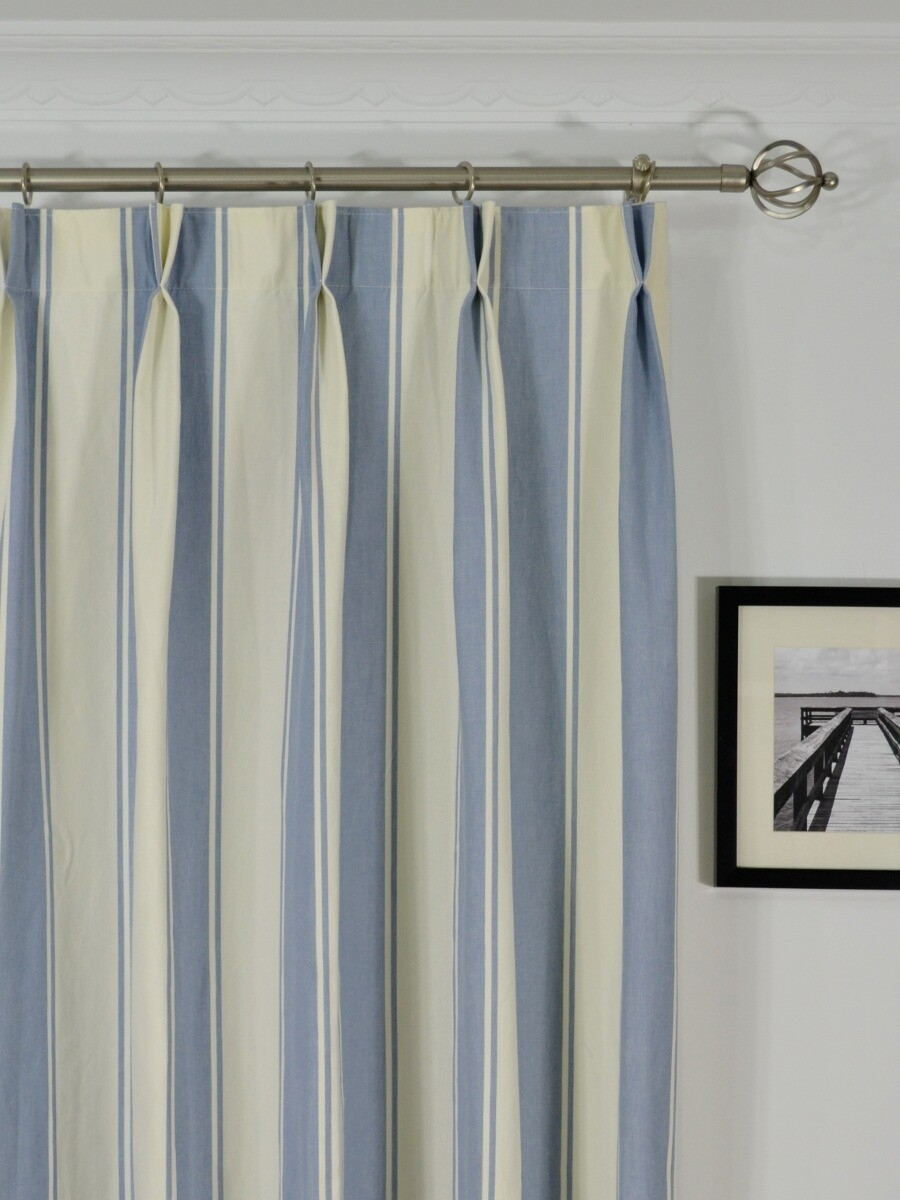 Moonbay Stripe Double Pinch Pleat Cotton Curtains Inside Double Pinch Pleat Curtains (Image 10 of 15)