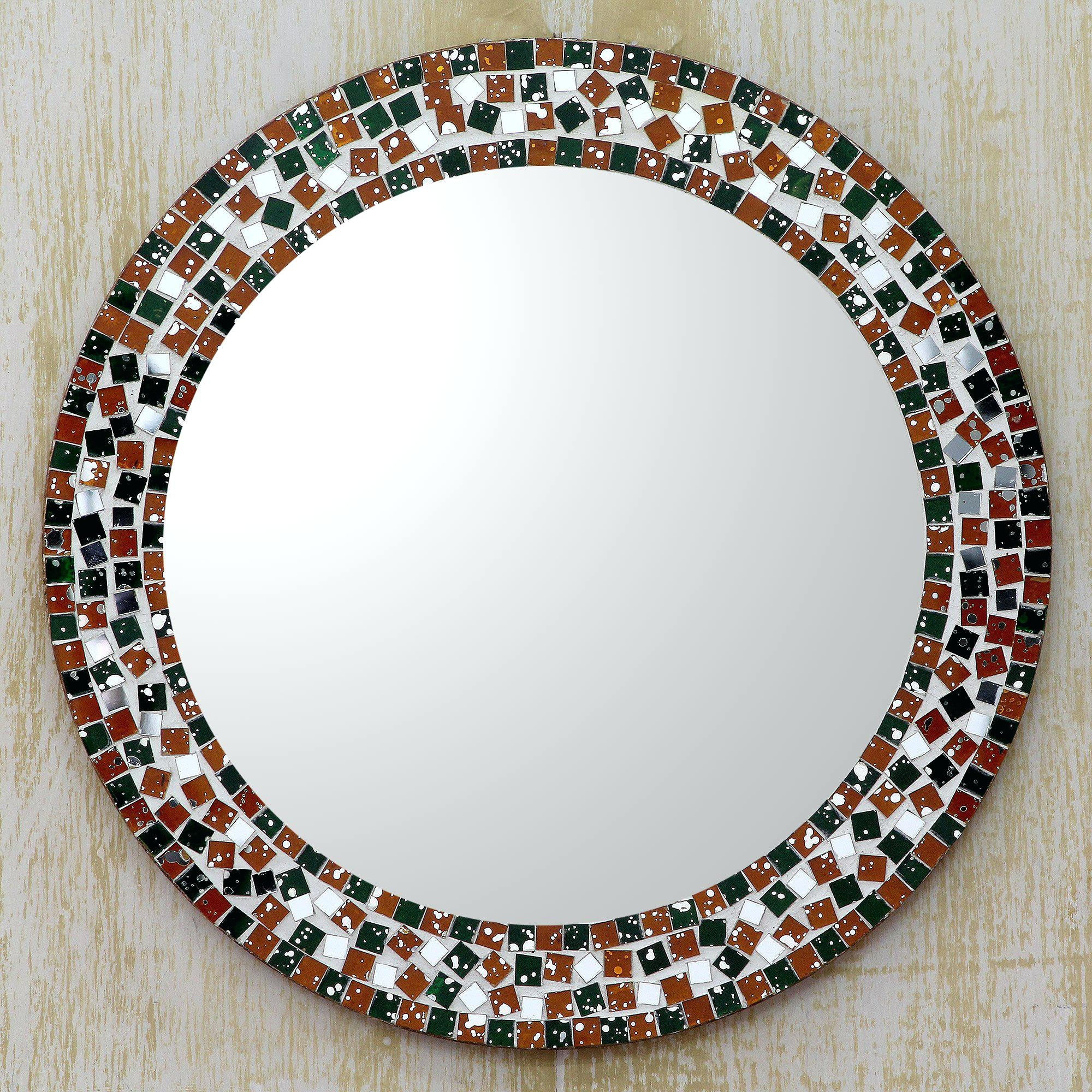 Mosaic Mirror Teal And Silver Round Wall Mirrorround Mirrors For In Round Mirrors For Sale (Image 7 of 15)