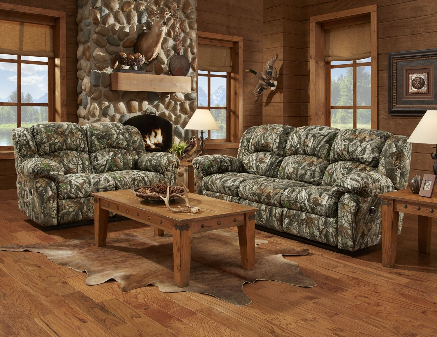 Mossy Oak 3pc Camouflage Reclining Sofa Set W Recliner Hunting Regarding Camo Sofa Cover (Image 6 of 15)