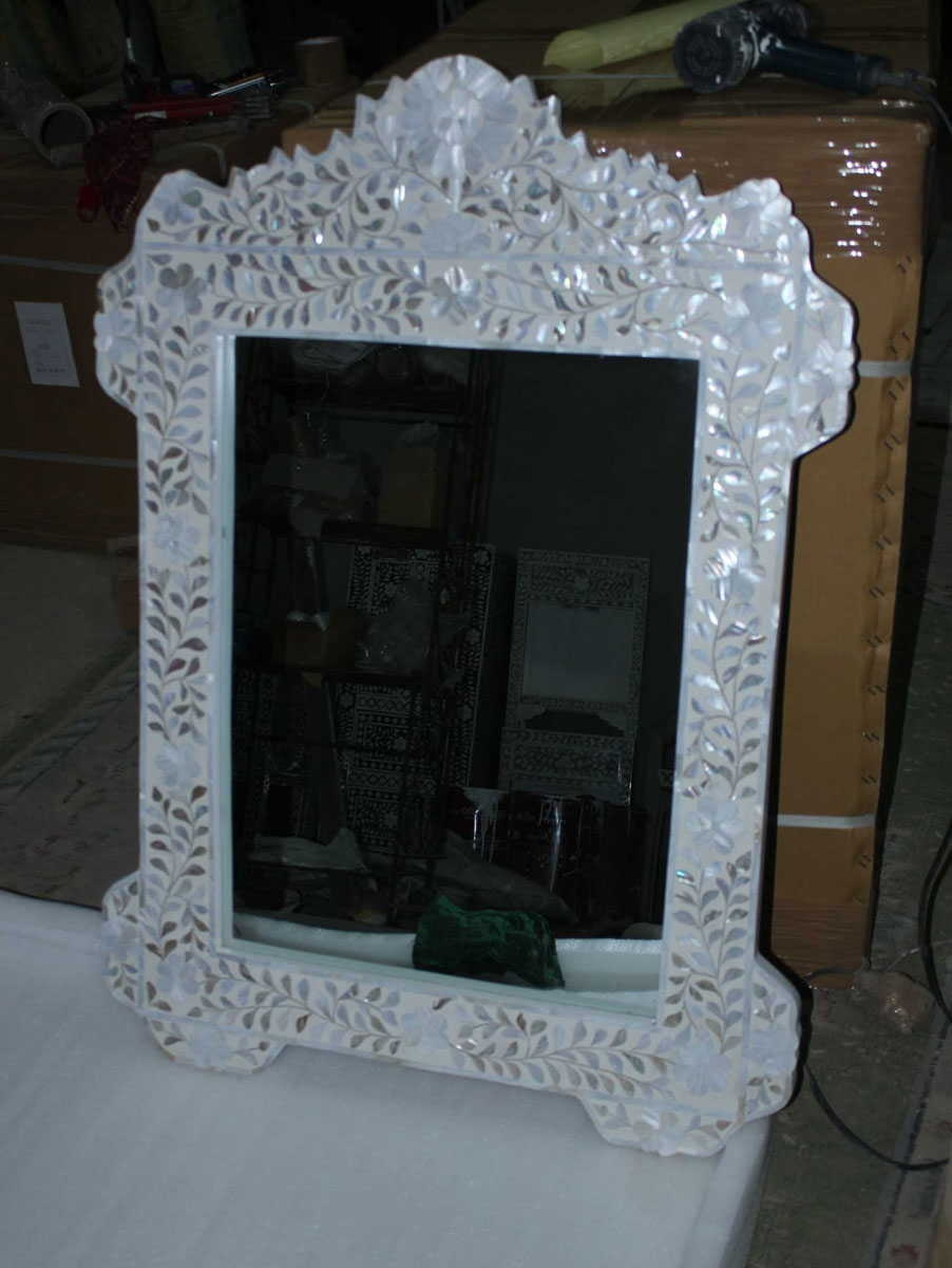 Mother Of Pearl Inlay Wall Mirros Indian Inlay Furniture Store Within Mother Of Pearl Wall Mirror (View 14 of 15)