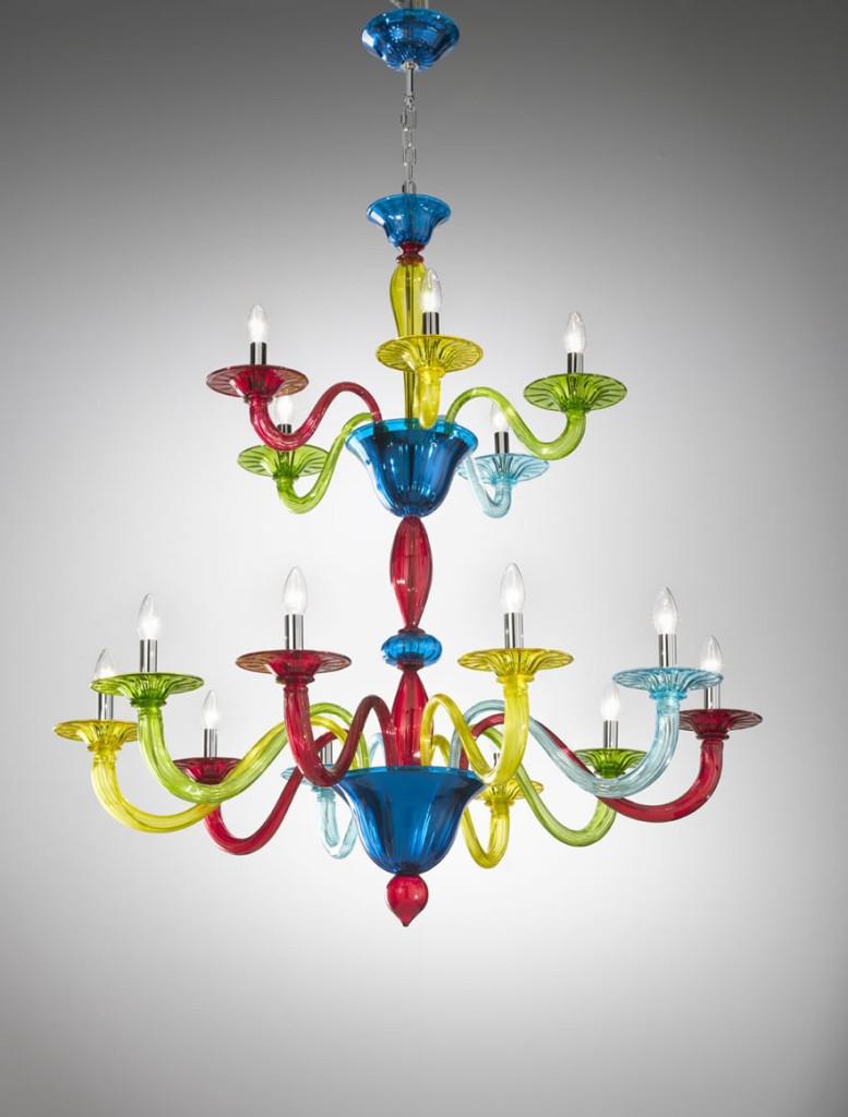 Murano Coloured Glass Chandelier Art1191 Vetrilamp Murano Inside Coloured Glass Chandelier (Image 11 of 15)