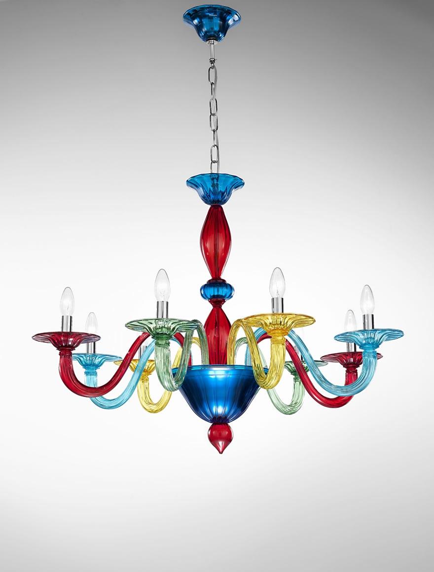 Murano Coloured Glass Chandelier Art1191 Vetrilamp Murano Throughout Coloured Glass Chandelier (Image 12 of 15)