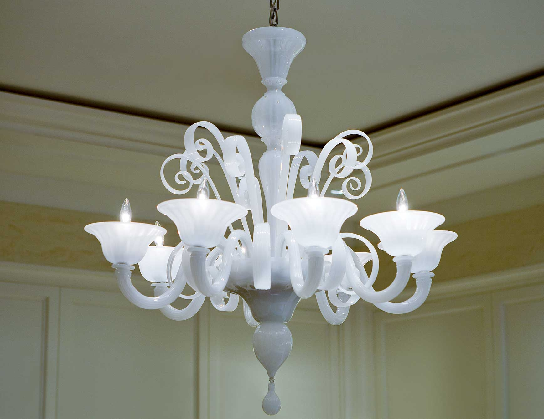 Murano Glass Chandeliers Italian Designer Luxury Chandeliers Regarding White Chandeliers (View 14 of 15)