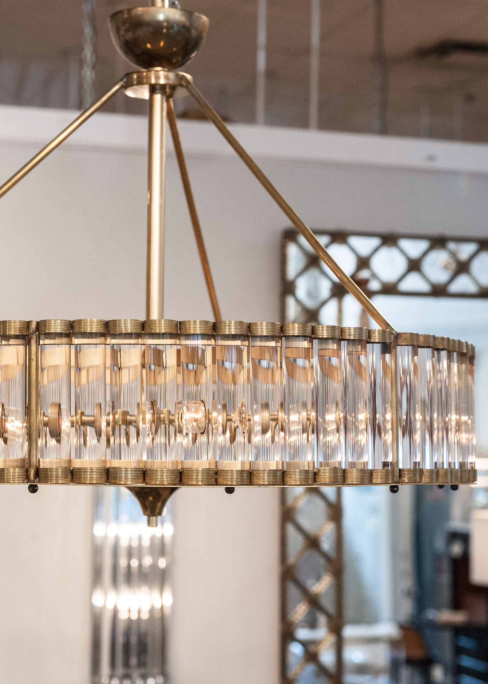Murano Glass Tube And Brass Chandelier Jean Marc Fray Inside Brass And Glass Chandelier (Image 11 of 15)