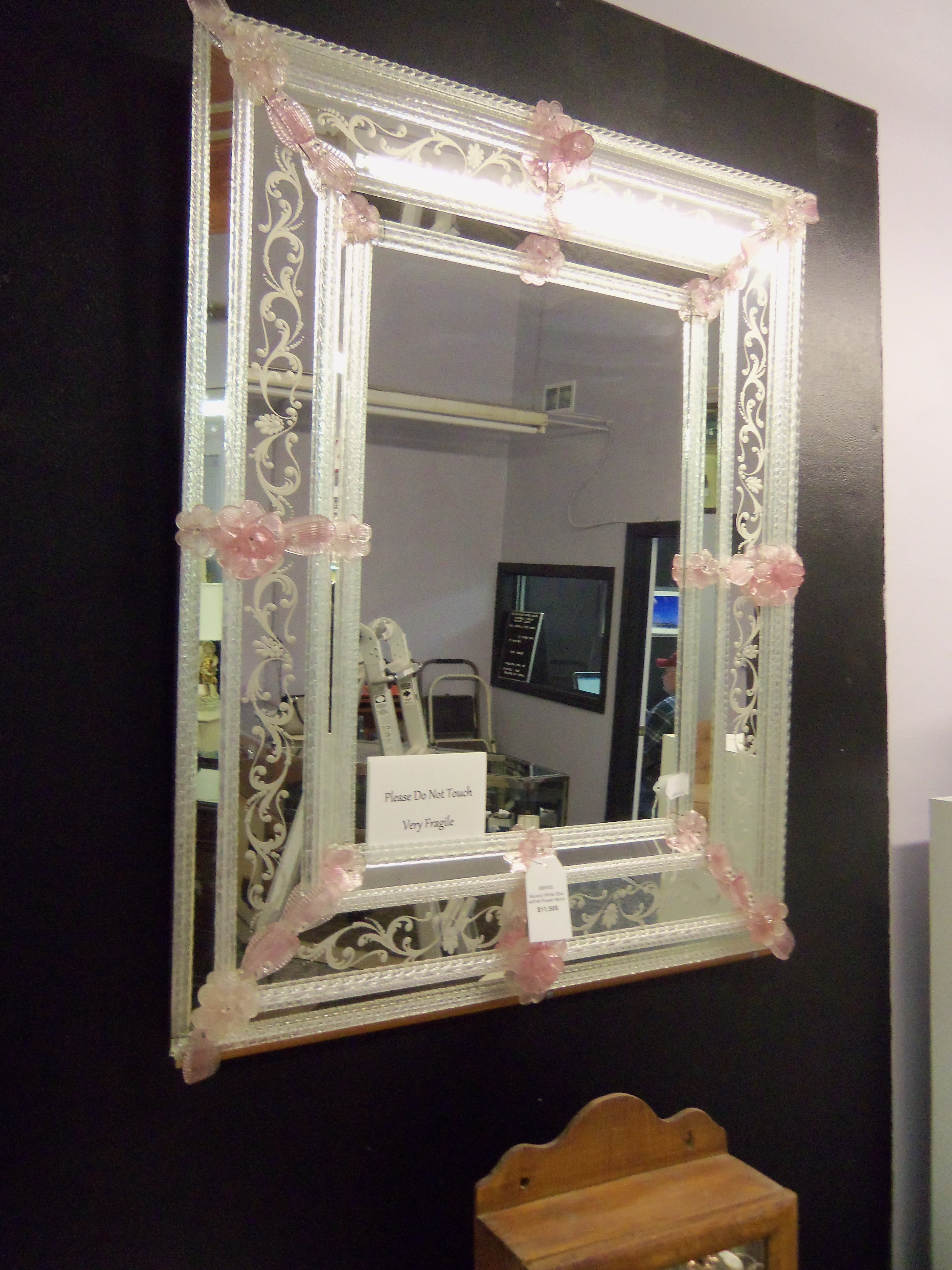 Murano Venetian Etched Signed Mirror For Sale Antiques In Venetian Mirror For Sale (Image 9 of 15)