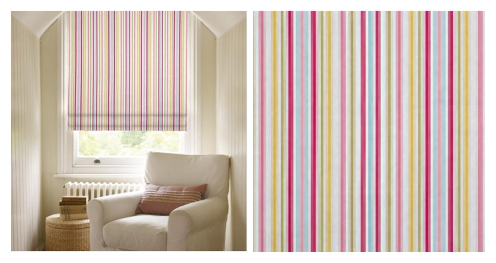 My Mini Kitchen Makeover Paint Colours Fabric Patterns Regarding Blue And White Striped Roman Blinds (Image 7 of 15)