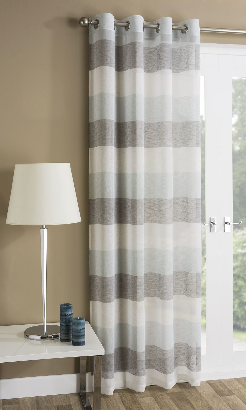 Mykonos Striped Eyelet Sheer Voile Ring Top Window Door Curtain In Striped Door Curtain (Image 10 of 15)