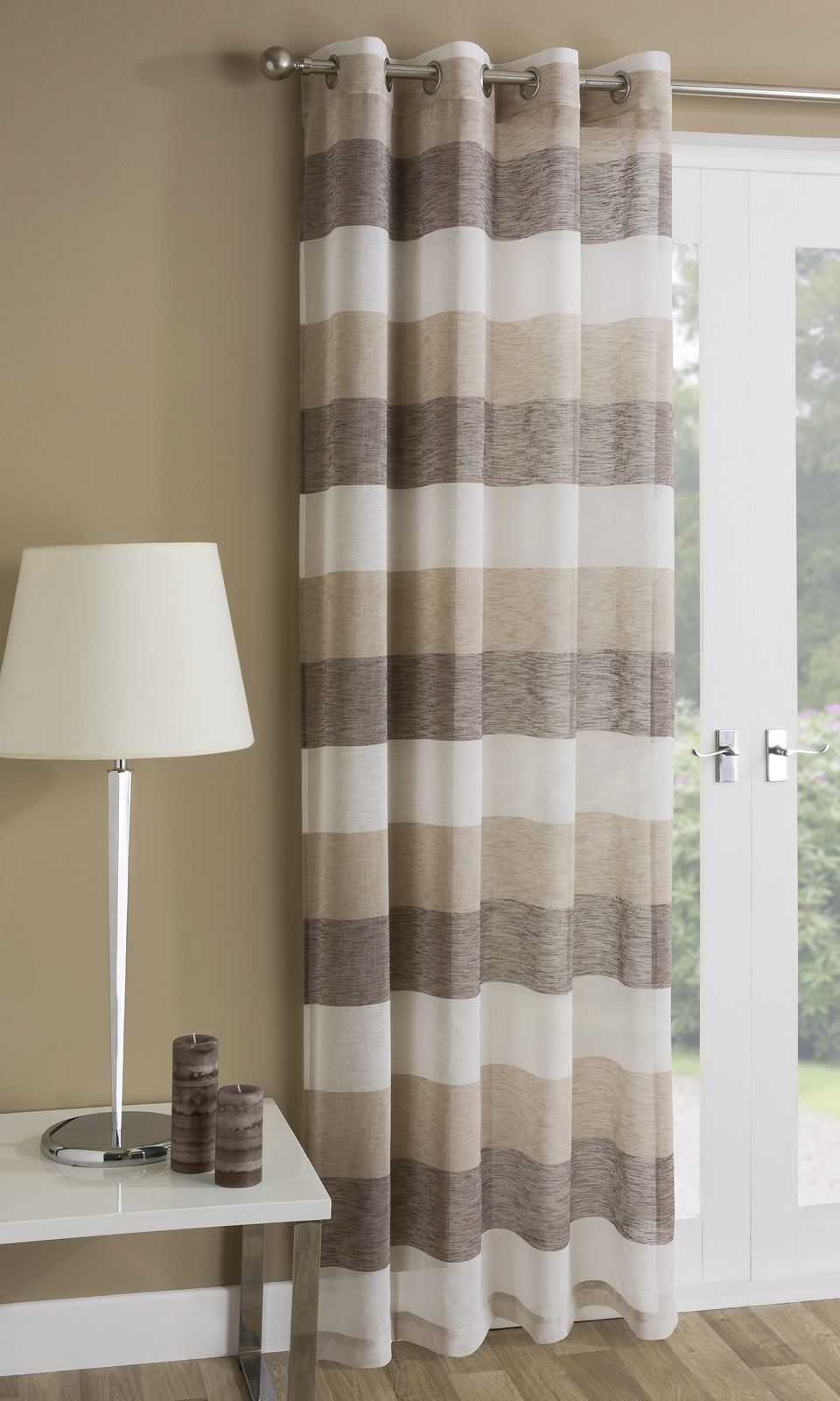 Mykonos Striped Eyelet Sheer Voile Ring Top Window Door Curtain With Regard To Striped Door Curtain (Image 12 of 15)