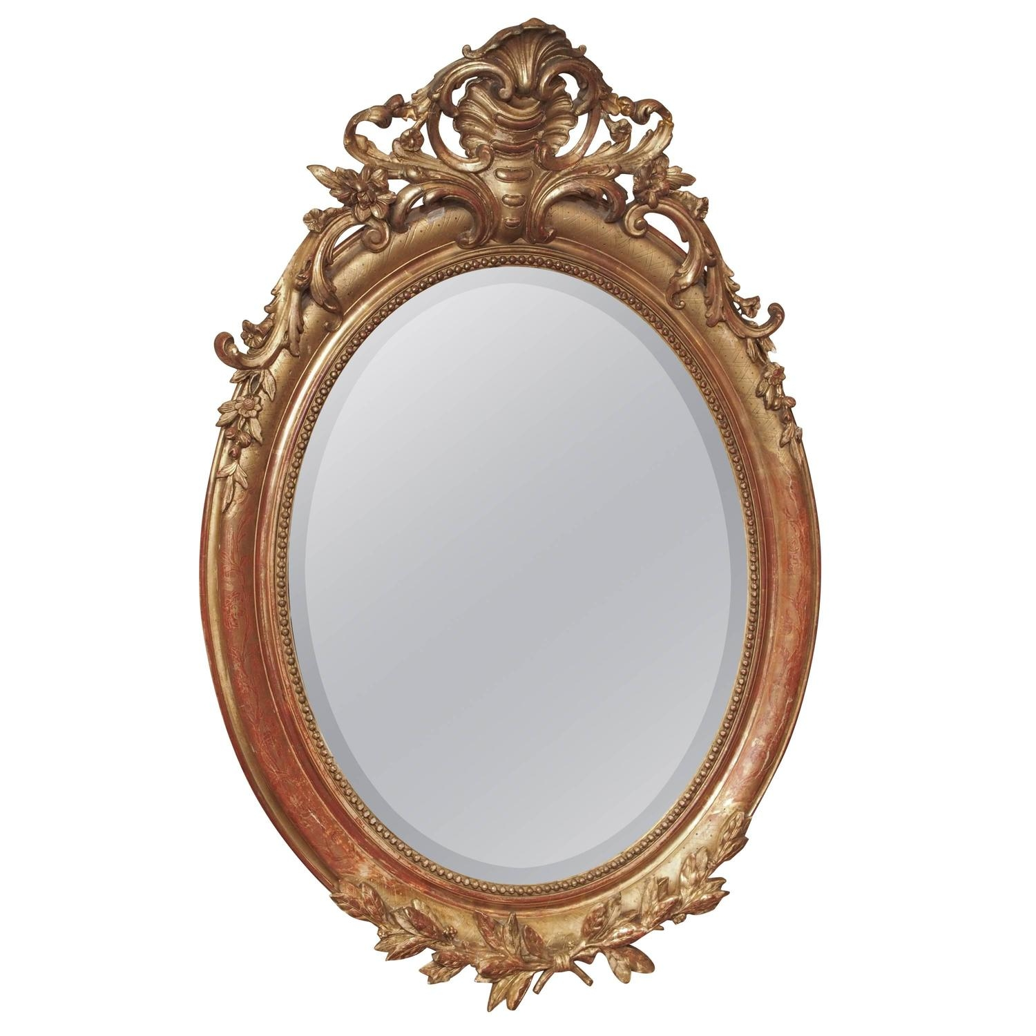 Napoleon Iii Oval Gilded Mirror At 1stdibs With Gilded Mirror (Image 9 of 15)