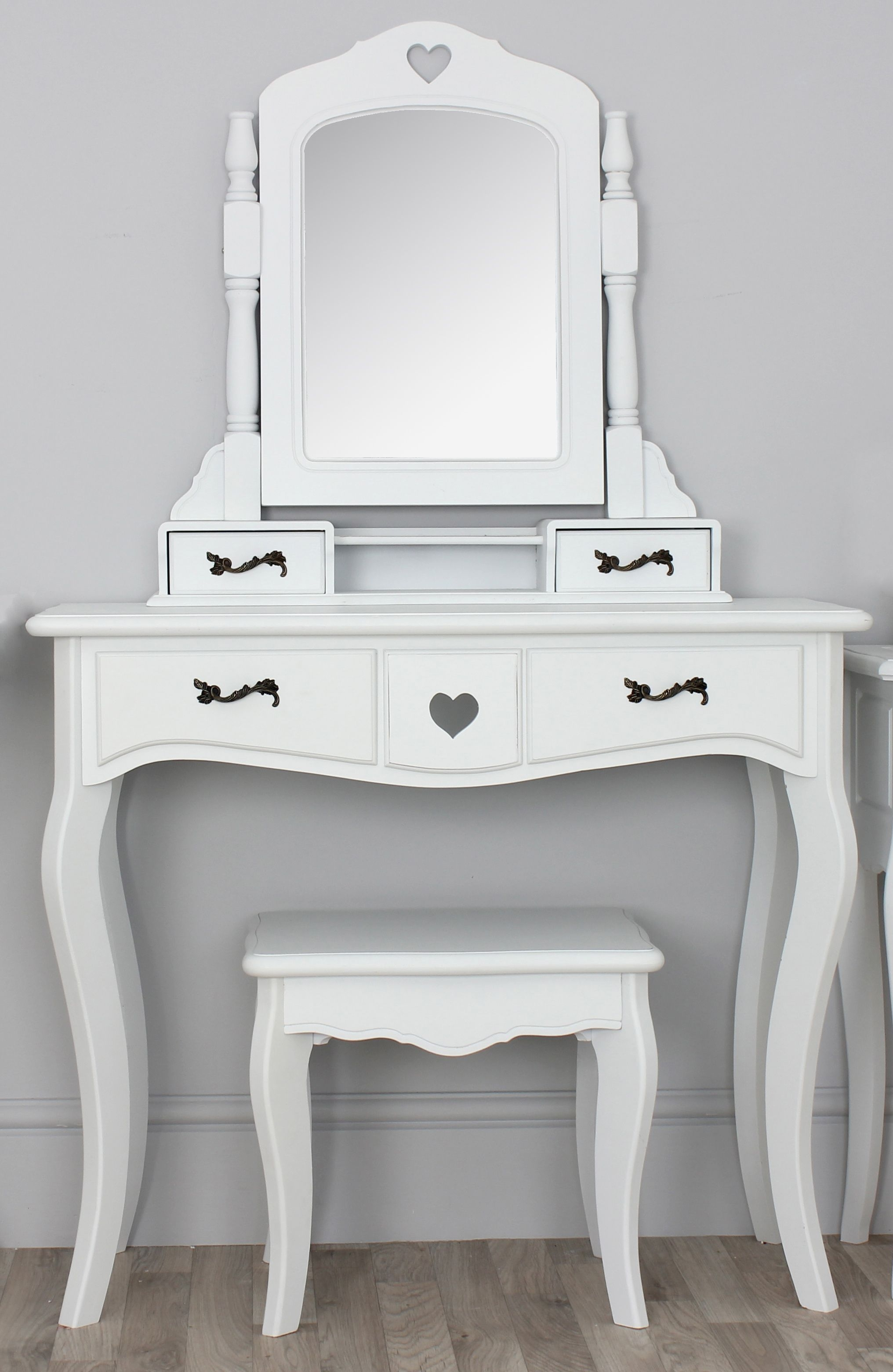 Narrow White Vanity Table With Four Drawers And Spinning Mirror For Small Table Mirror (Image 8 of 15)