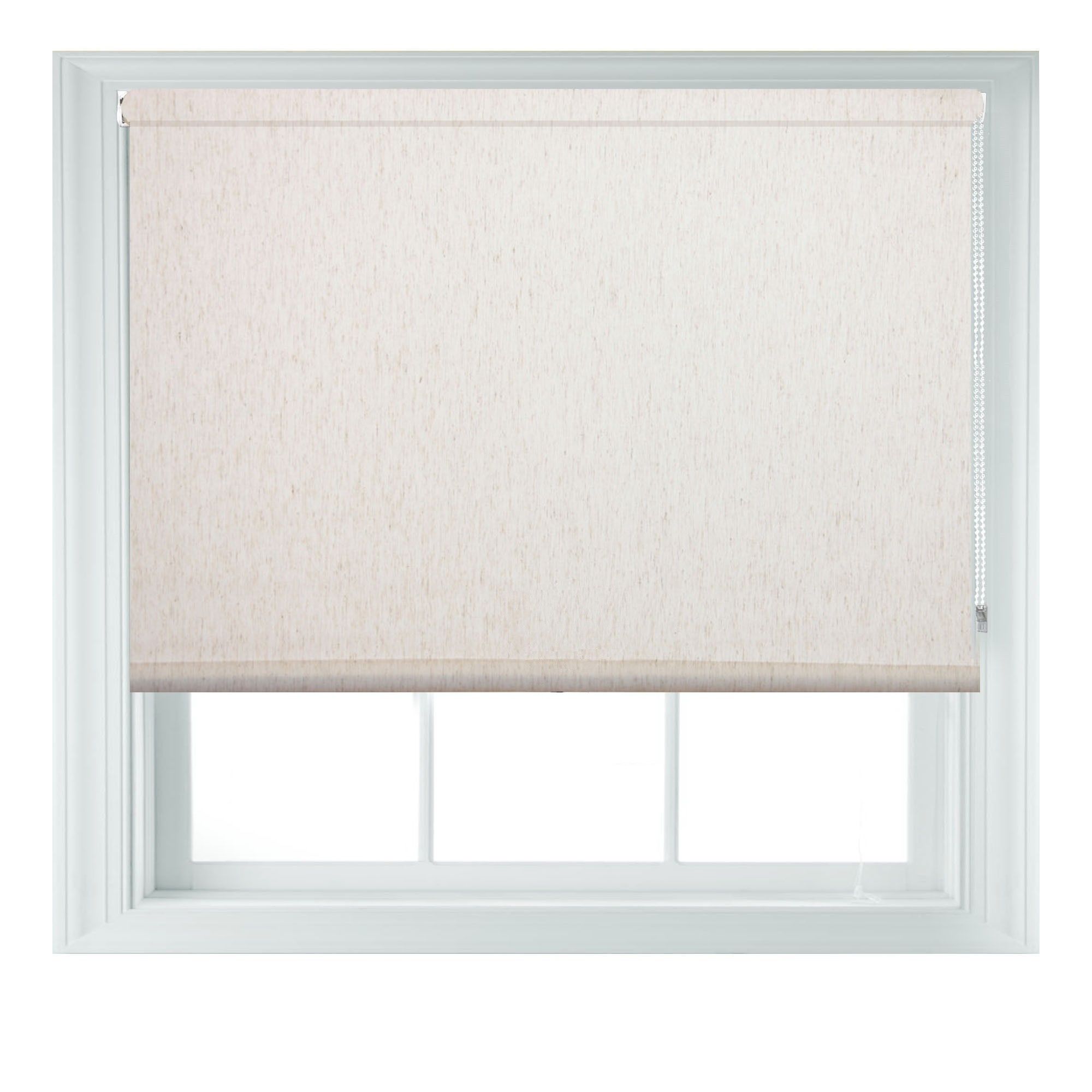 Natural Beige Linen Roller Blinds Quality Window Blind Free Cut Intended For Natural Linen Roman Blinds (Image 9 of 15)