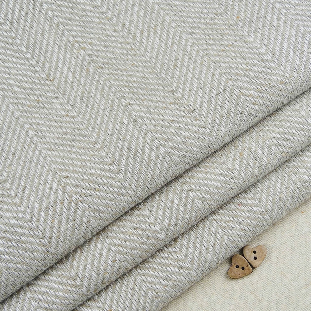 Natural Linen Herringbone Weave Fabric Curtain Blind Vintage Inside Natural Fabric Curtain (Image 10 of 15)