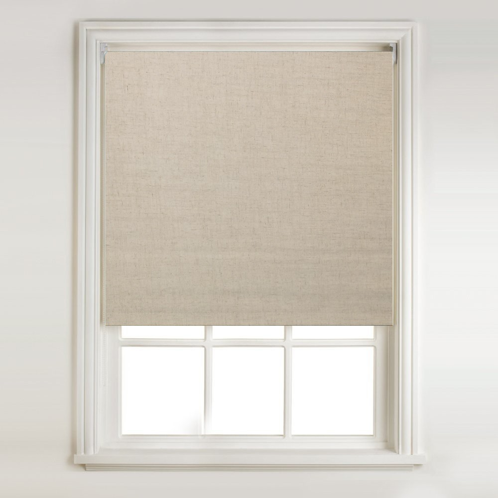 Natural Linen Thermal Blackout Roller Blind Metal Bracket Fittings Throughout Linen Roller Blinds (Image 9 of 15)