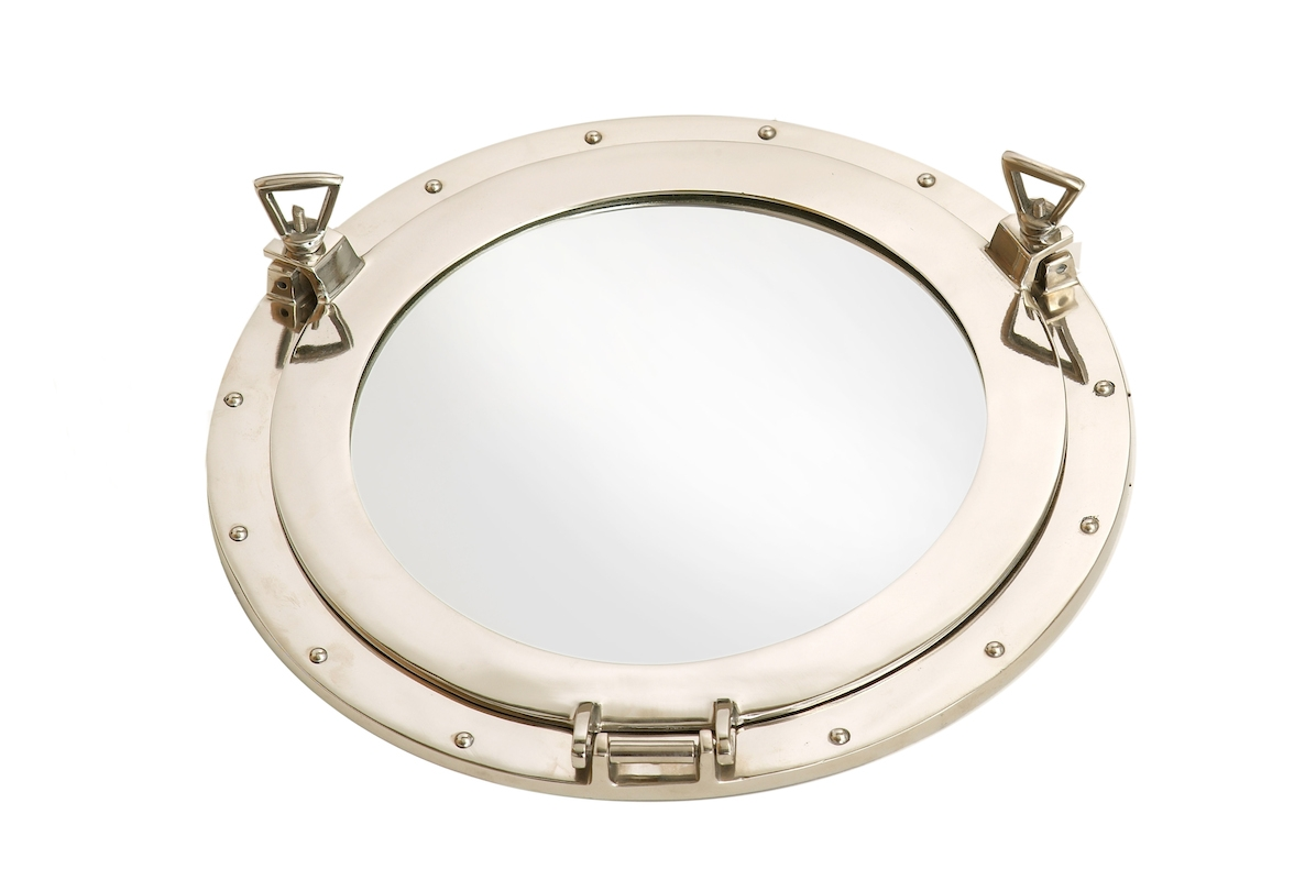 Nautical Aluminium Porthole Mirror Small Regarding Porthole Mirrors (Image 4 of 15)
