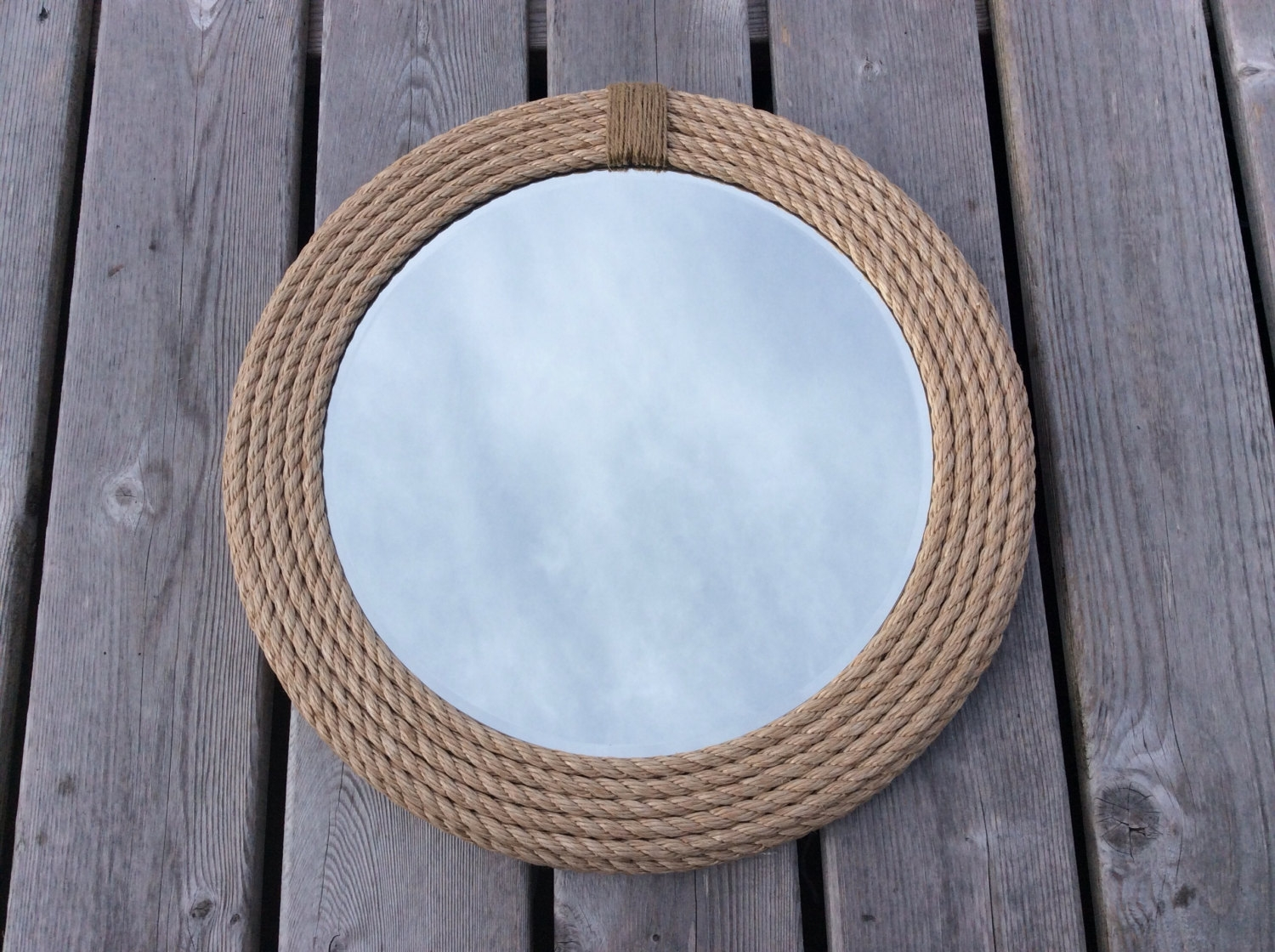 Nautical Round Rope Mirror In Blue Round Mirror (Image 7 of 15)