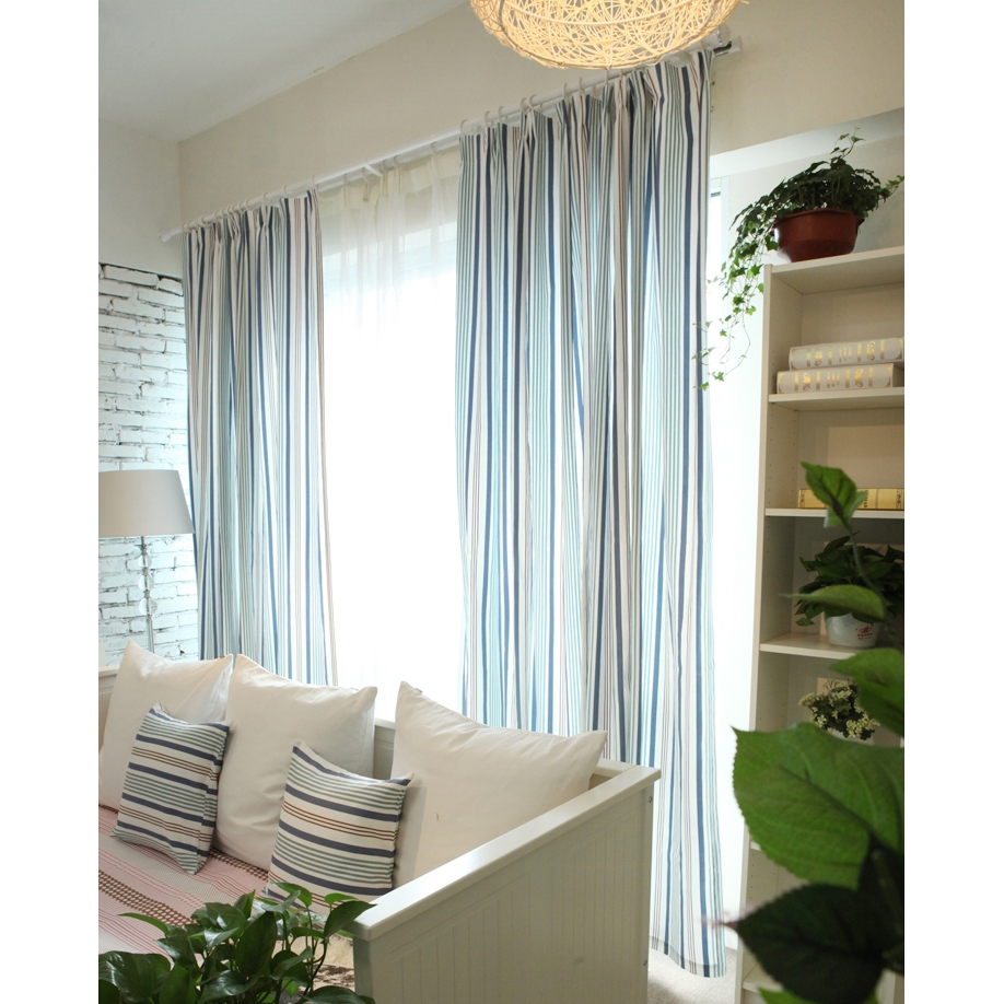 Nautical Style Striped Blue Cottonlinen Blend Eco Friendly With Striped Thermal Curtains (Image 11 of 15)