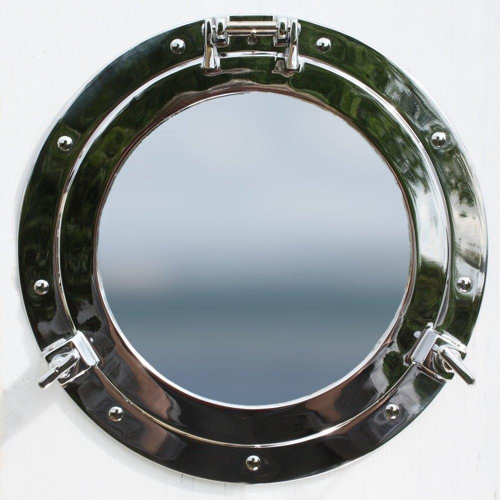 Nauticalia Round Porthole Mirror 11 Chrome Amazoncouk Intended For Chrome Porthole Mirror (Image 12 of 15)