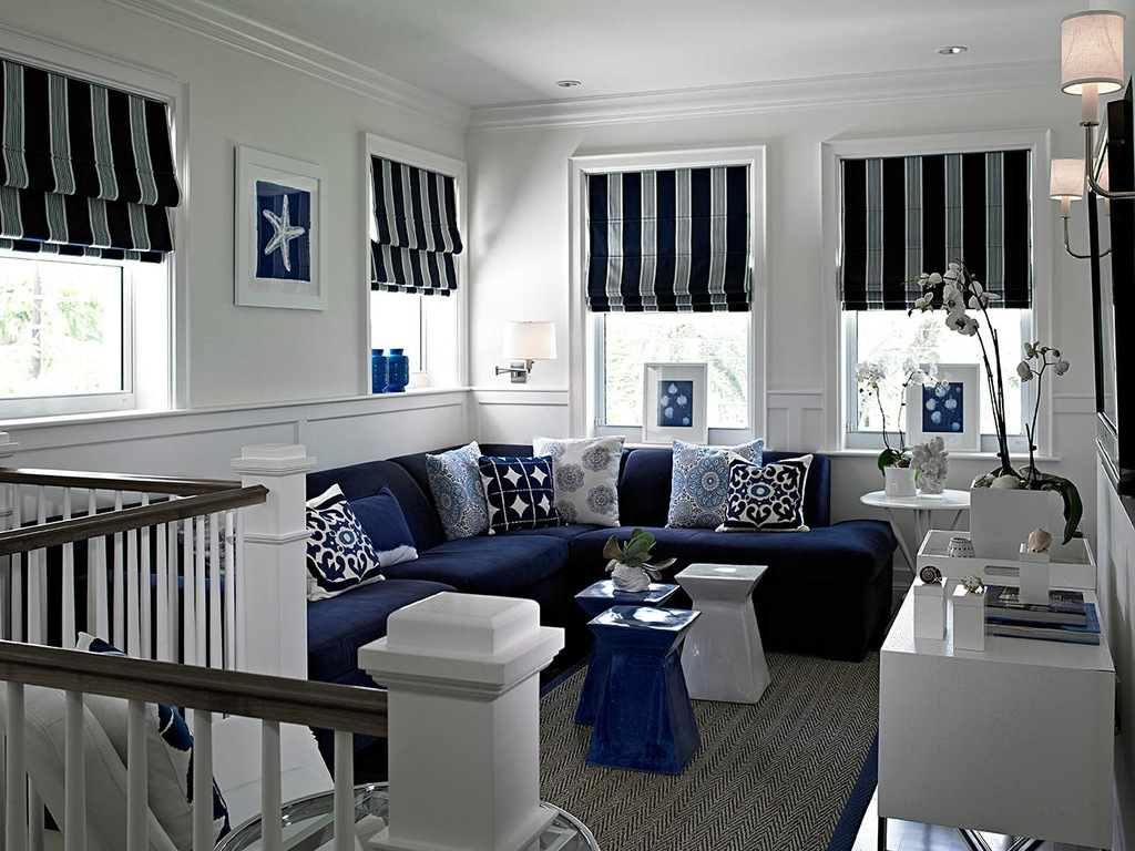 Navy Blue Sectional Sofa Wall Sconces Striped Roman Shade Blind With Blue And White Striped Blinds (Image 8 of 15)