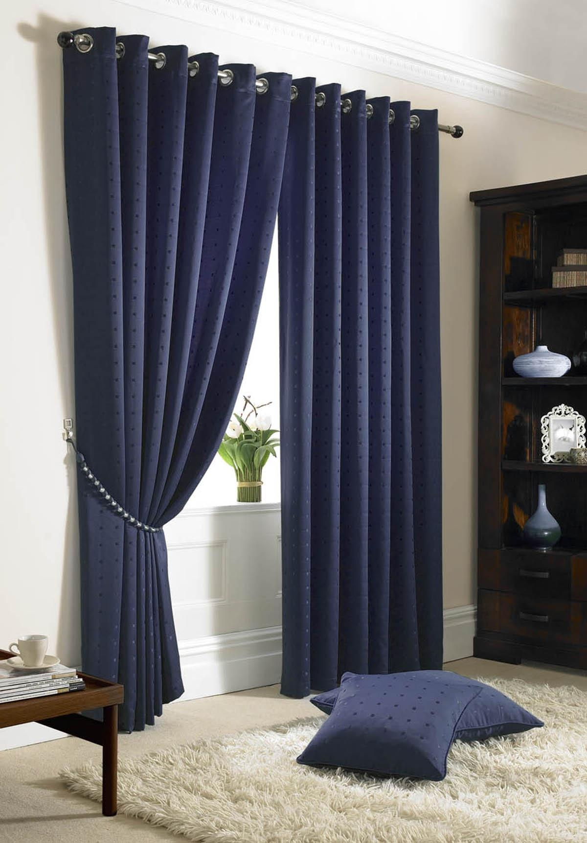 Navy Curtains Winda 7 Furniture Throughout Blue Blackout Curtains Eyelet (Image 11 of 15)