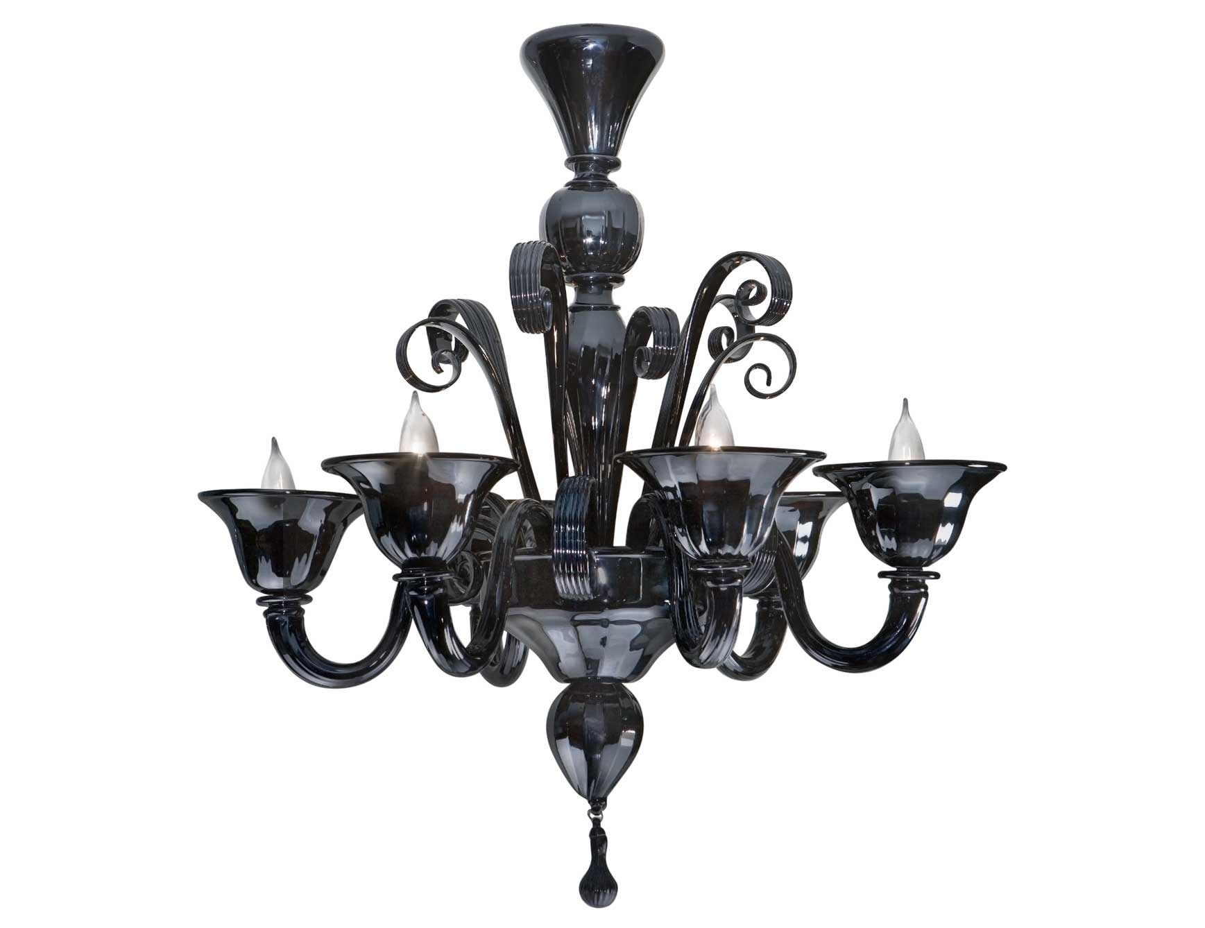 Nella Vetrina Black Murano 6 9596 Murano Chandelier In Black Intended For Black Glass Chandelier (Image 12 of 15)