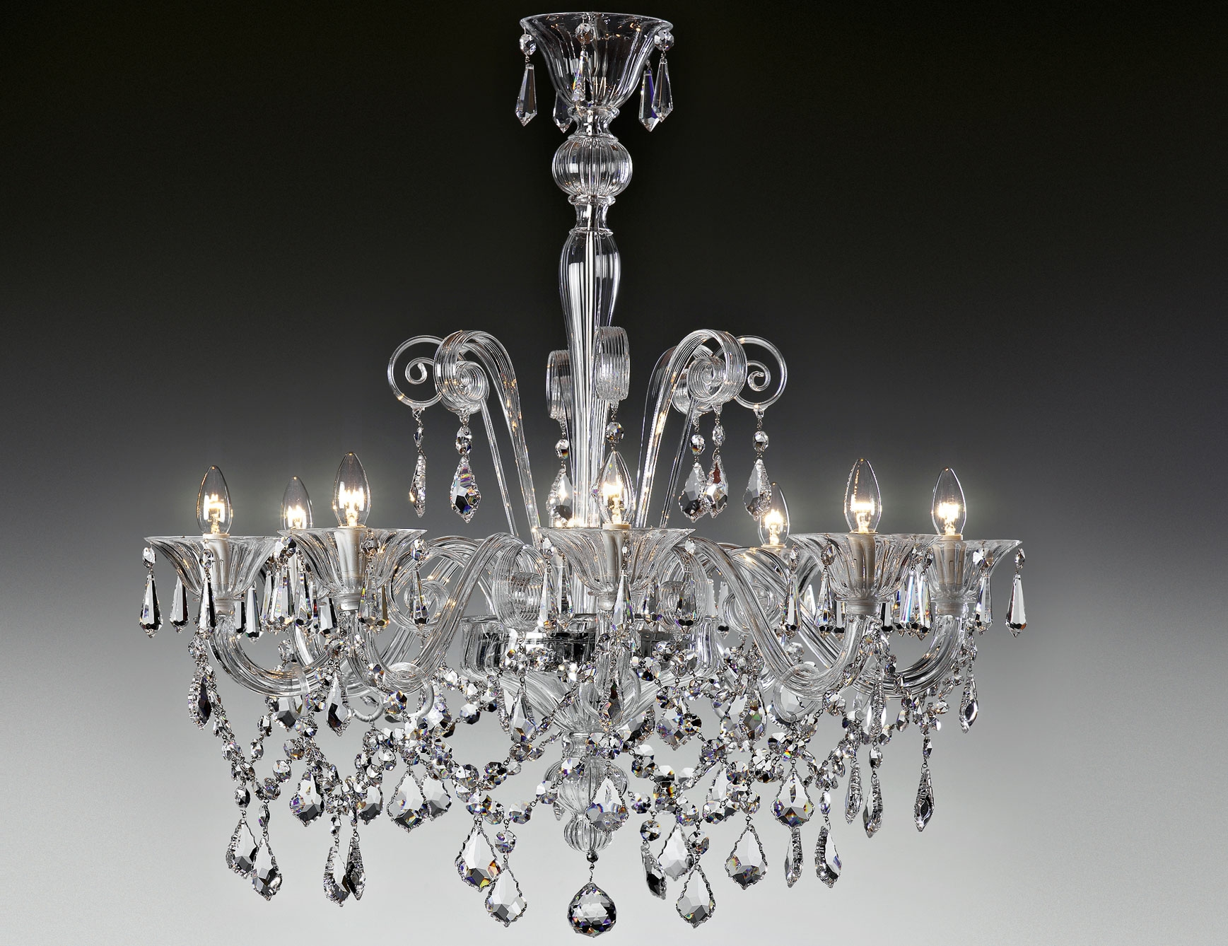 Nella Vetrina Lulu 9016 8 Modern Italian Chandelier Clear Murano Glass Throughout Italian Chandeliers (Image 11 of 15)