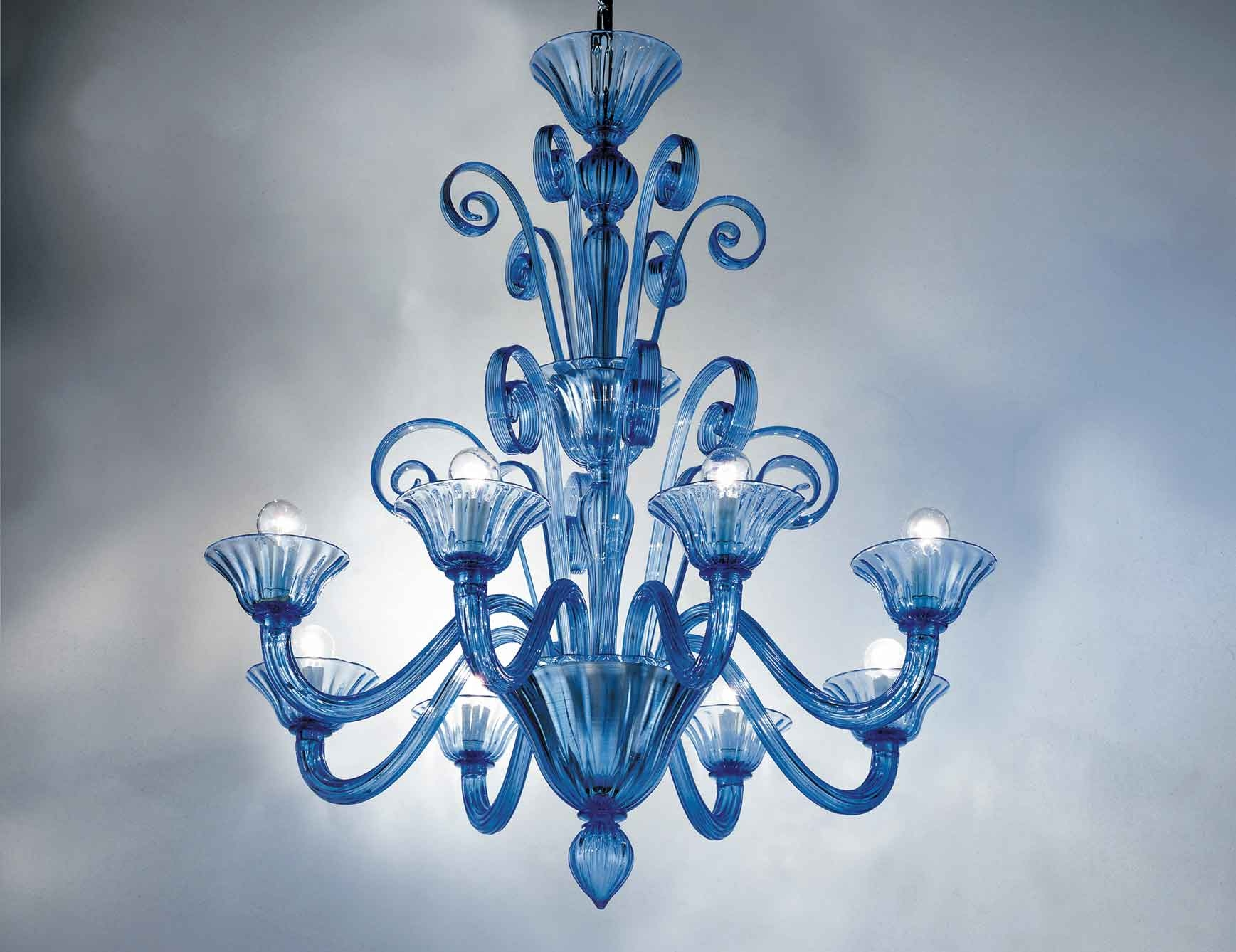 Nella Vetrina Melissa 9003 08 Venetian Chandelier In Light Blue For Murano Chandelier Replica (Image 11 of 15)