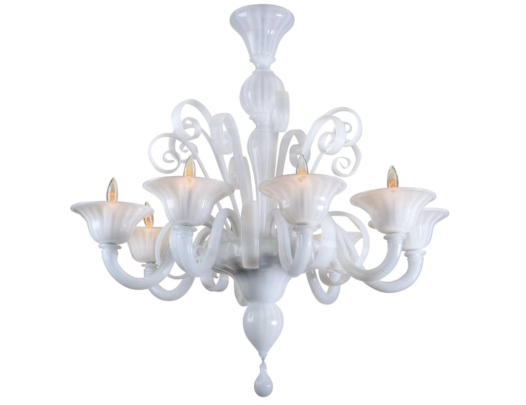 Nella Vetrina White Murano 8 Murano Chandelier In White Glass In White Chandelier (Image 12 of 15)