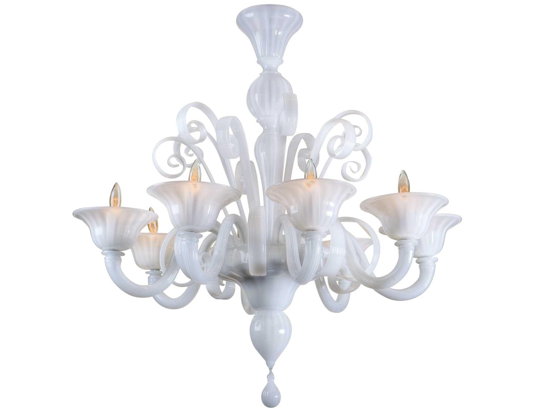 Nella Vetrina White Murano 8 Murano Chandelier In White Glass Pertaining To White Chandeliers (View 15 of 15)