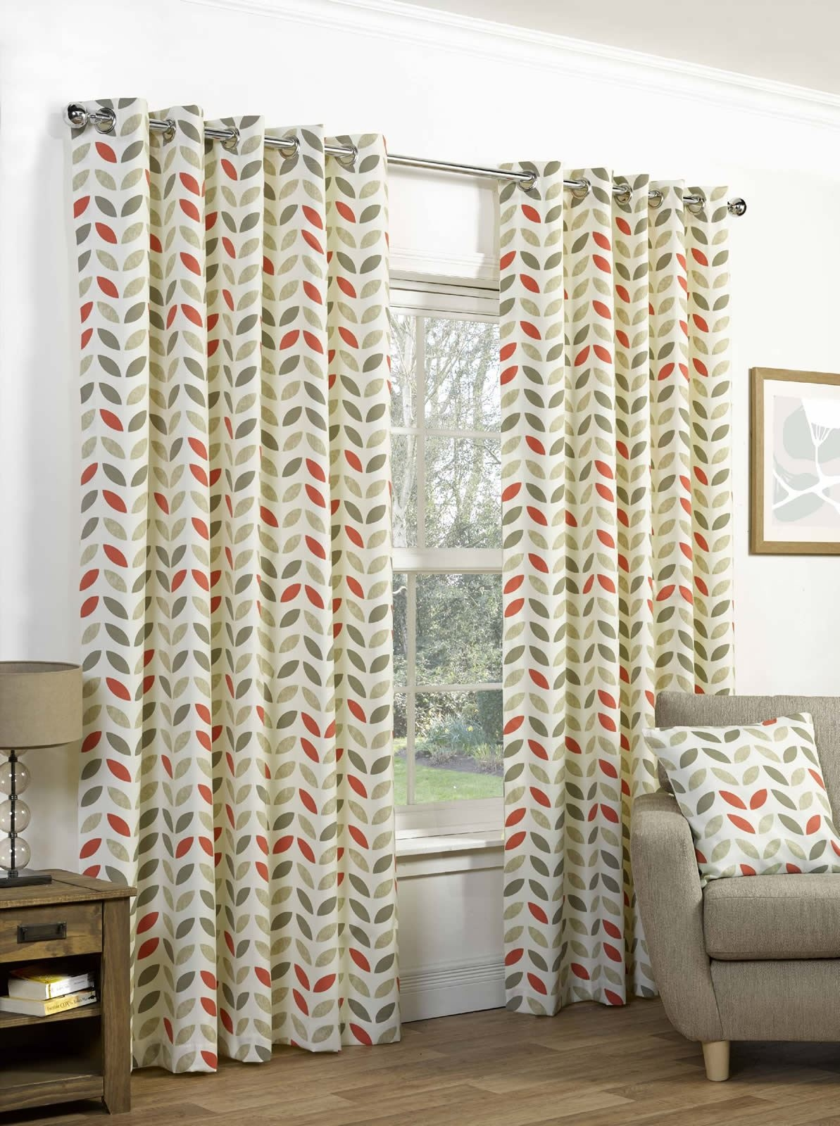 Neo Geometric Modern Leaf Print Lined Eyelet Curtains Ready Made With Regard To Cotton Eyelet Curtains (View 8 of 15)