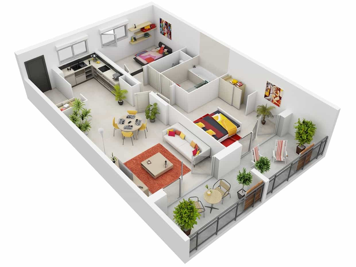 New Contemporary Two Bedroom Simple House Plans 3D Layout (Image 14 of 17)