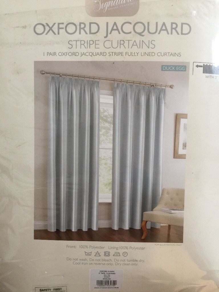 New Duck Egg Blue Lined Striped Curtains 90 Inch Drop 66 Inches With 100 Inch Drop Curtains (Image 13 of 15)