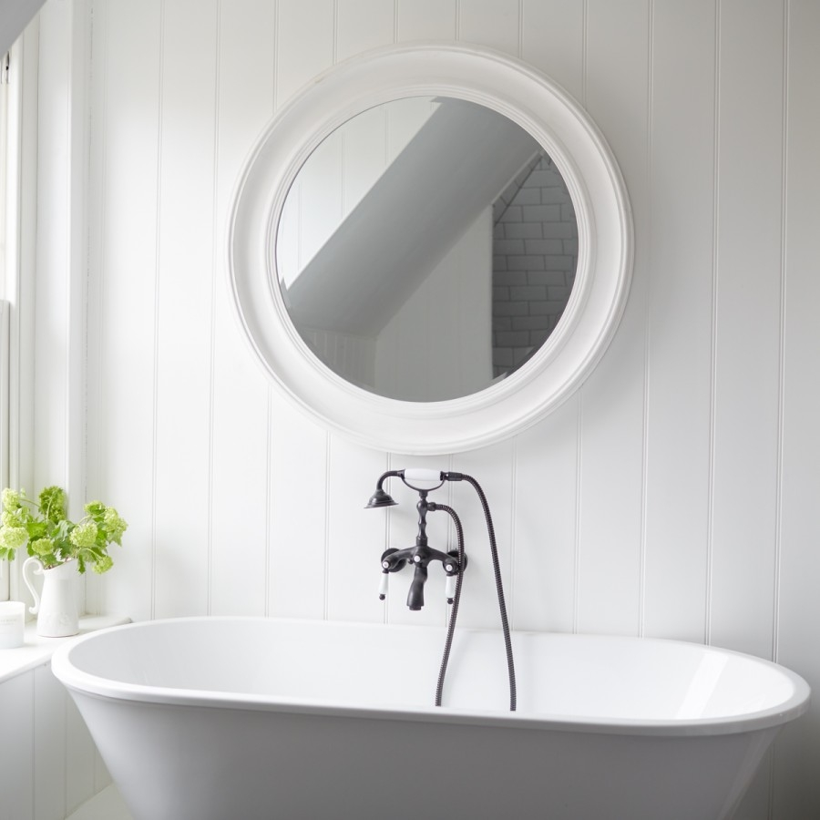 New England Mirror White Large Brissi Intended For White Round Mirror (Image 10 of 15)