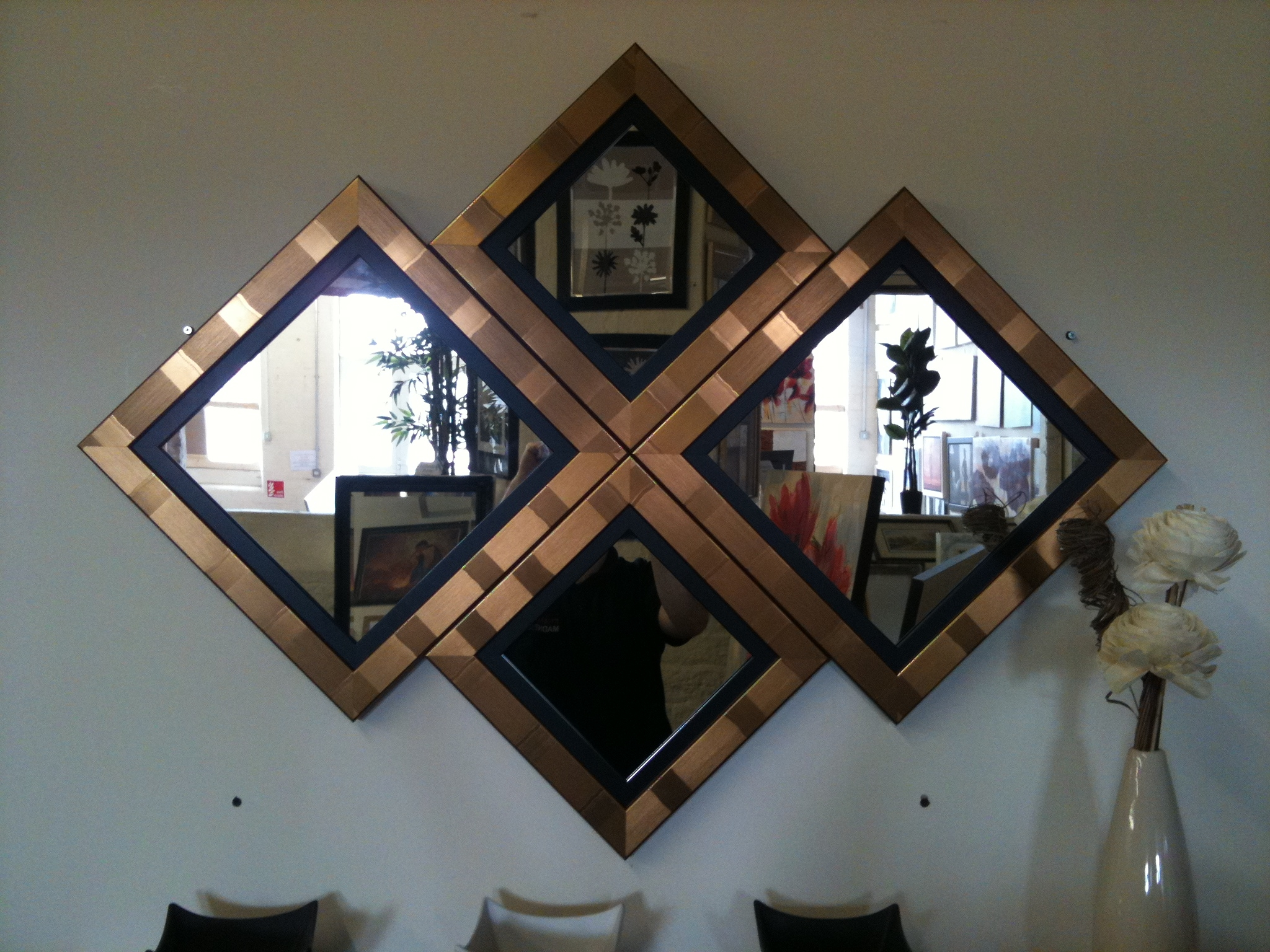New Goldblack Diamond Wall Mirror 115 X 86 Cm With Regard To Black And Gold Wall Mirror (Image 12 of 15)