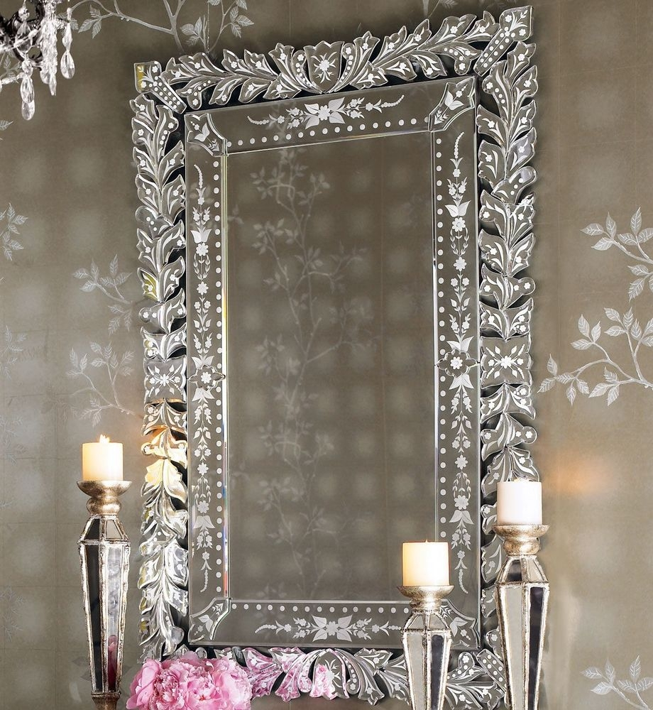 New Horchow Neiman Marcus Marta Venetian Glass Wall Mirror French Throughout Venetian Bathroom Mirror (Image 11 of 15)