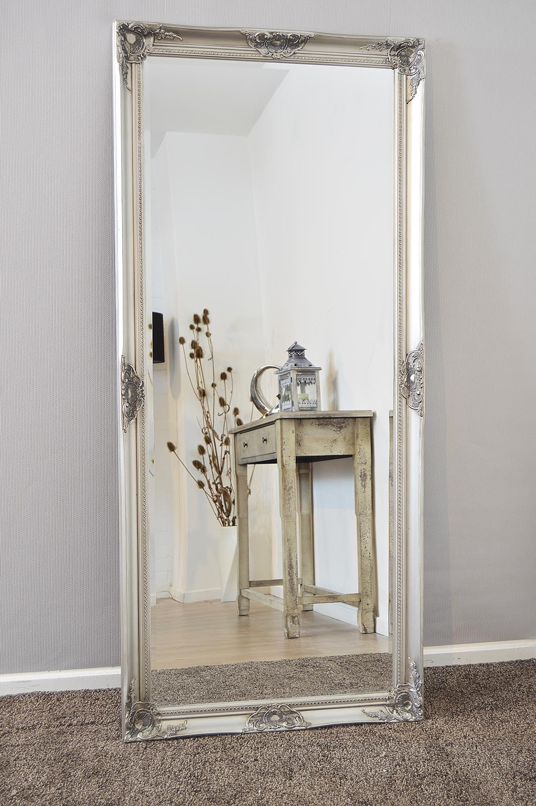New Large Silver Decorative Shab Chic Wall Mirror 5ft3 X 2ft5 Regarding Silver Bevelled Mirror (View 14 of 15)