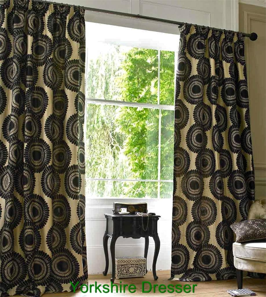 New Monsoon Black Cream Yasuko Pencil Pleat Curtains 90 X 72 With Monsoon Curtains (Image 6 of 15)