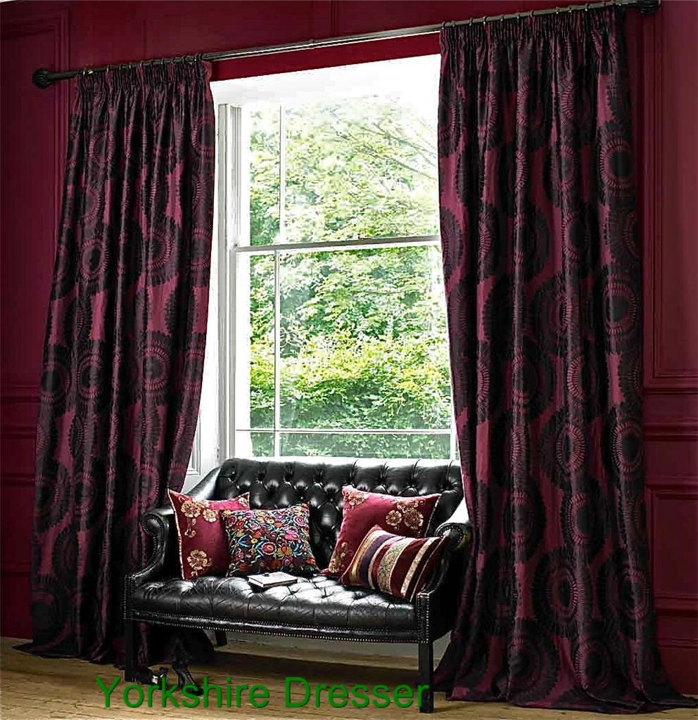 New Monsoon Silky Magenta Purple Yasuko Long Bedroom Curtains Intended For Monsoon Curtains (Image 8 of 15)
