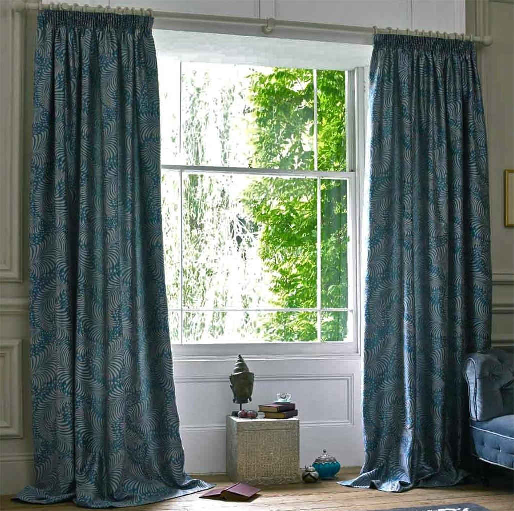 New Monsoon Teal Stone Bodoni Long Pencil Pleat Curtains 90×72 Pertaining To Monsoon Curtains (View 3 of 15)