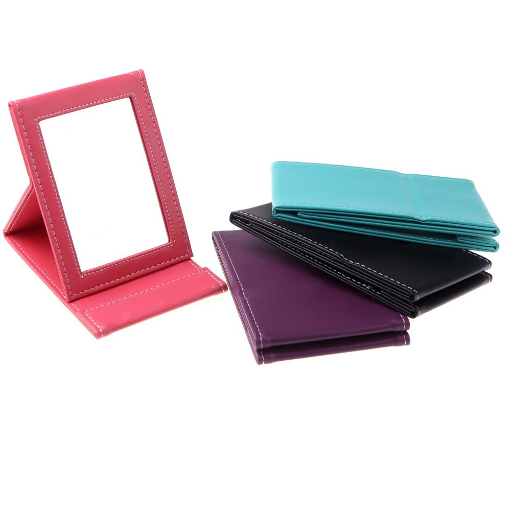 New Portable Makeup Mirror Travel Leather Desktop Strong Foldable Within Leather Mirror (View 8 of 15)