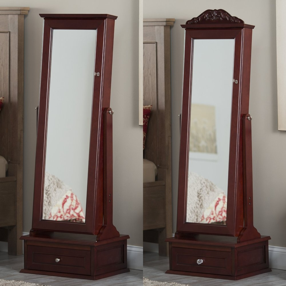 New Vintage Standing Mirror Jewelry Armoire With Lock Buy Mirror Throughout Vintage Standing Mirror (Image 11 of 15)