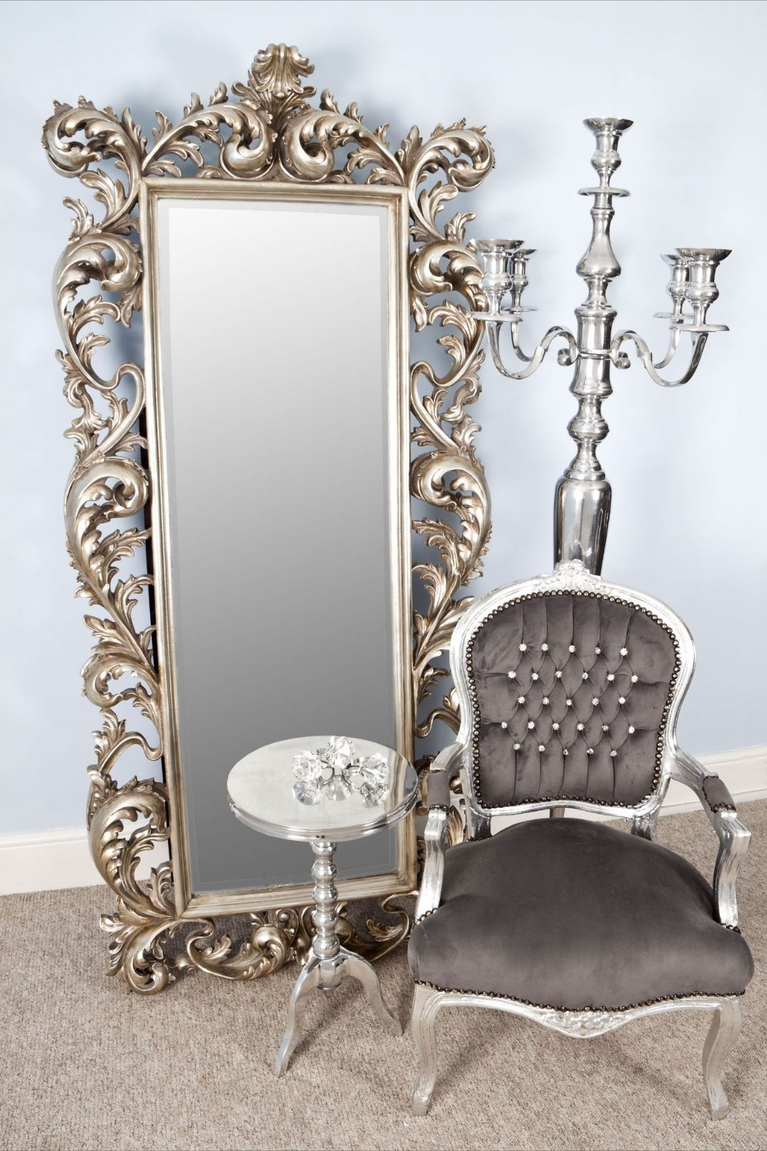 Nita Extra Large Silver Mirror 192 X 86 X 10 Cm Exclusive Mirrors With Regard To Rococo Style Mirrors (Image 10 of 15)