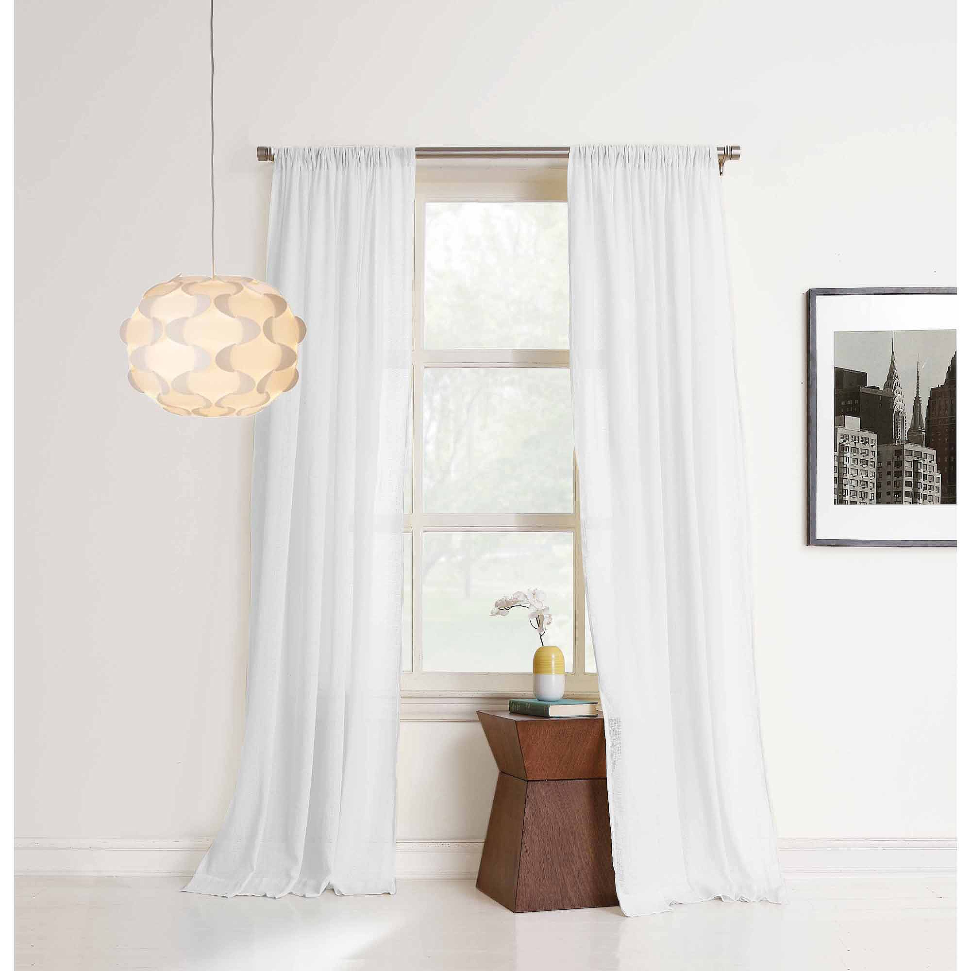 No 918 Brayden Cotton Gauze Curtain Panel Walmart Regarding White Sheer Cotton Curtains (Image 9 of 15)