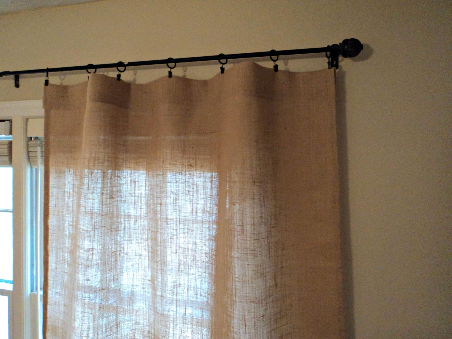 No Odor Burlap Curtains Hemmed Curtains Select Your Length Throughout Turquoise Burlap Curtains (Image 14 of 15)