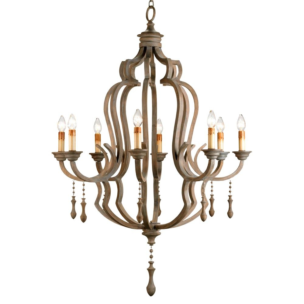 Normandy Large French Wood 8 Light Washed Grey Chandelier Kathy Within French Wooden Chandelier (Image 11 of 15)