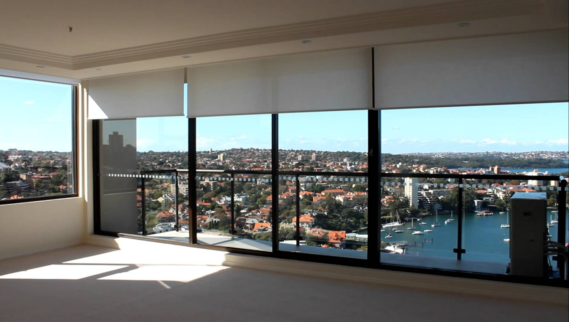 North Sydney Apartment Motorised Remote Control Roller Blinds Within Luxury Roman Blinds (Image 10 of 15)