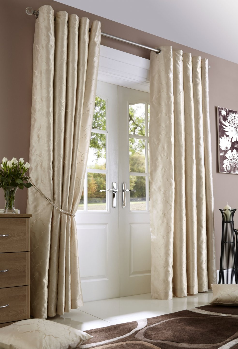 Nouveau Cream Lined Eyelet Curtains Woodyatt Curtains Stock In Lined Cream Curtains (Image 11 of 15)
