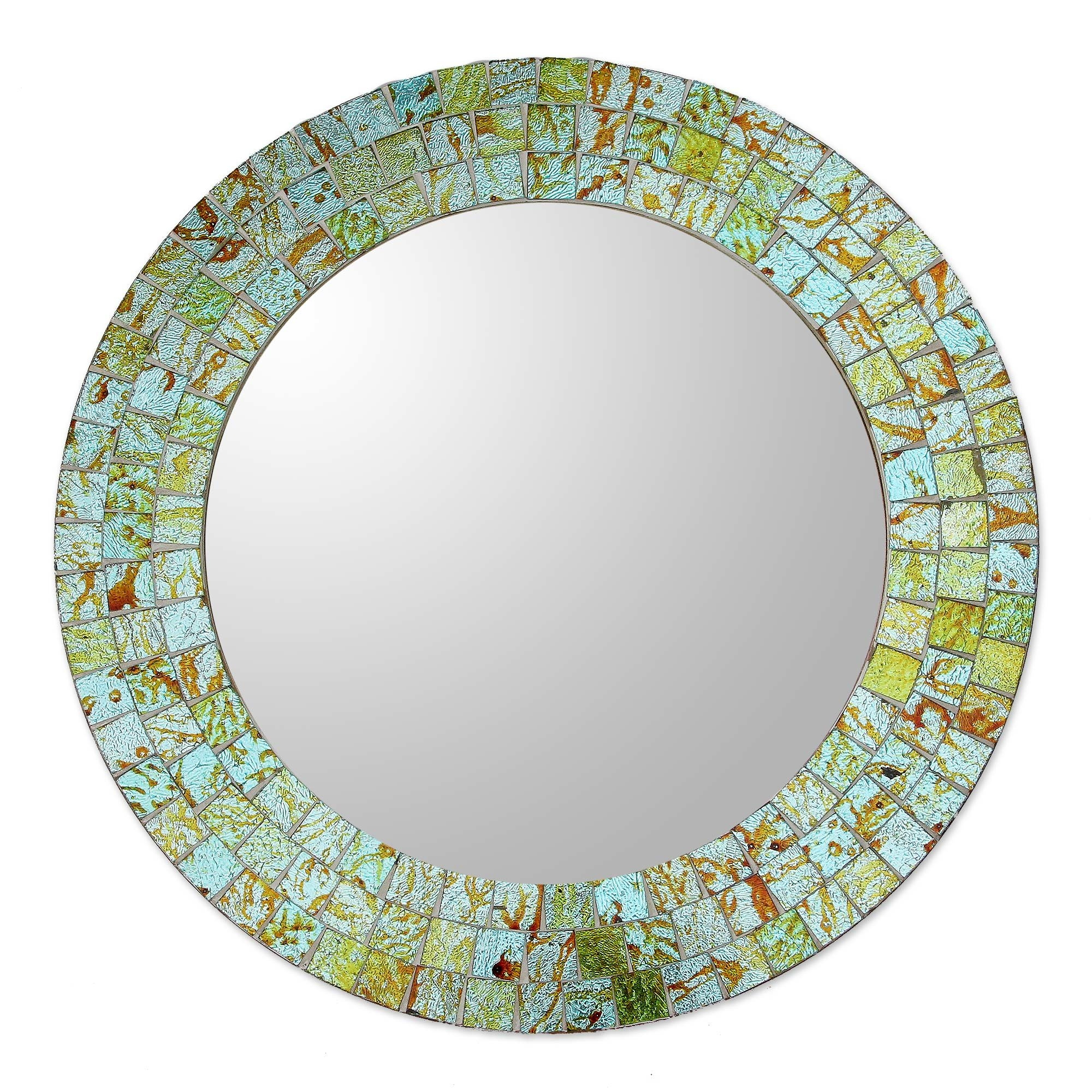 Novica Aqua And Lime Mosaic Wall Mirror Reviews Wayfair Inside Mosaic Wall Mirror (Image 9 of 15)