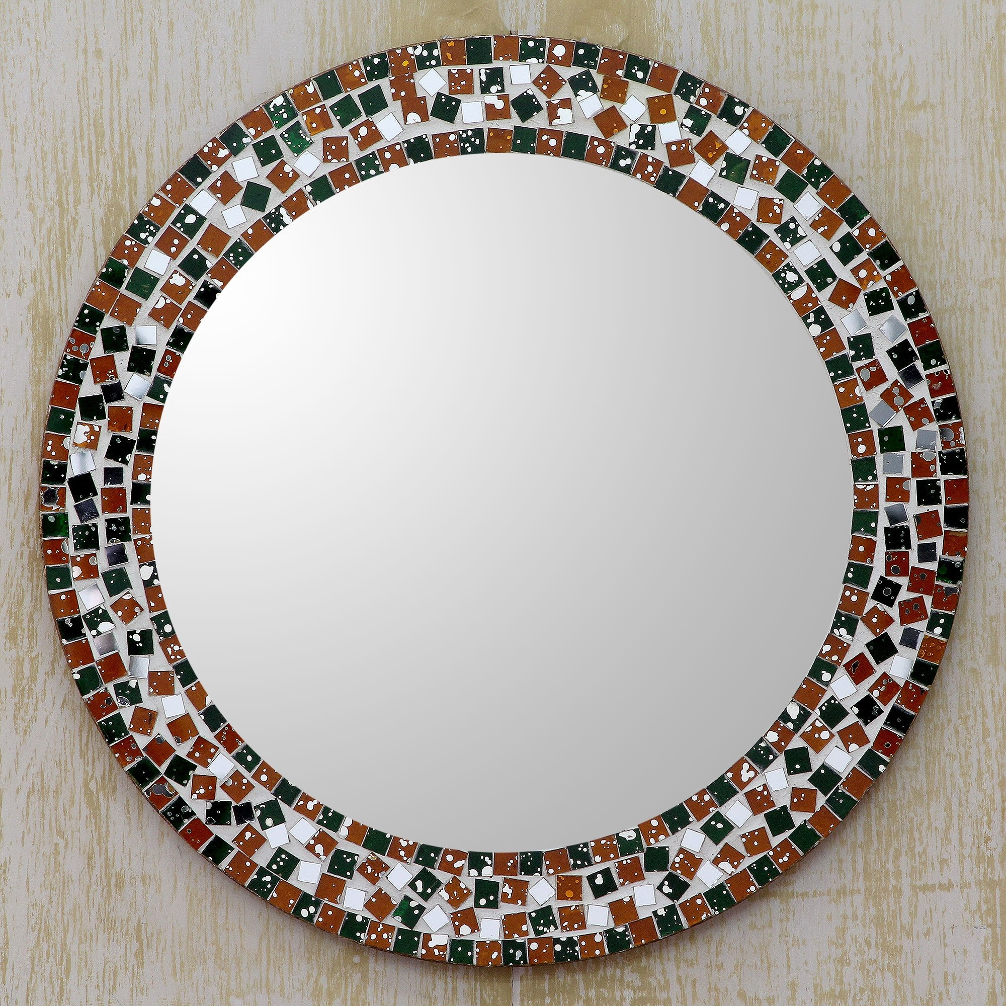 Novica Forest Mosaic Artisan Crafted Round Wall Mirror With Glass With Regard To Mosaic Wall Mirror (Image 10 of 15)